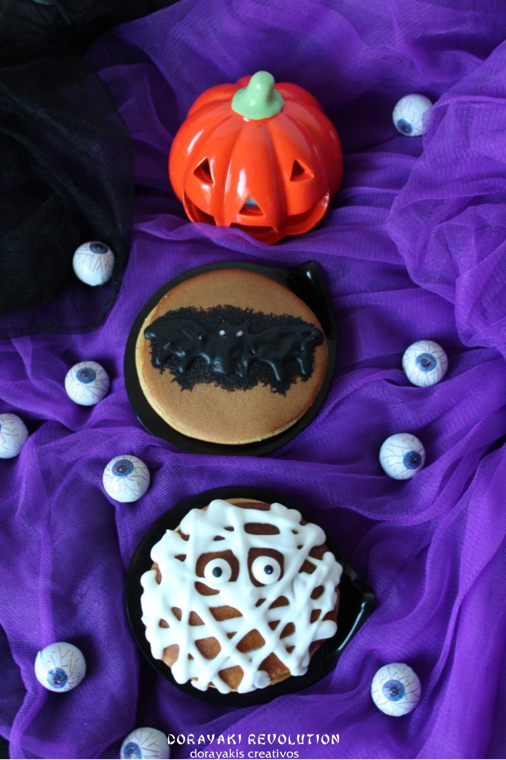 dorayaki de halloween momia y murciélago